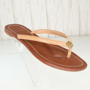 Tory-Burch-Terra-Beige-Brown-Leather-Flip-Flop-Sandals-Size-6-5-M-Womens-Thong