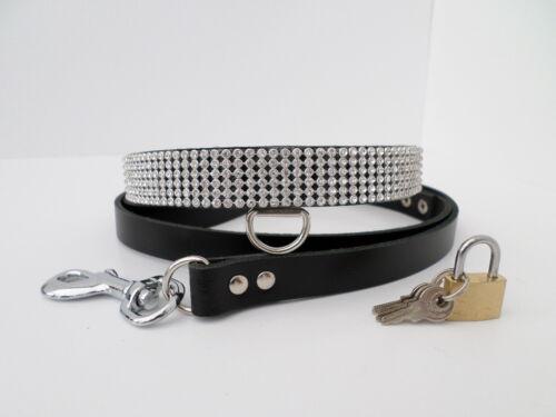 lockable leather rhinestone bondage fetish collar with matching lead  20mm wide