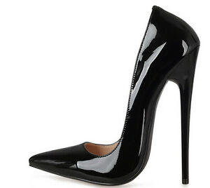 Chic-Women-Patent-Leather-14cm-Stiletto-Super-High-Heel-Pointy-Toe-Pumps-Shoes