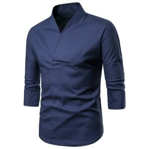 Men/'s V Neck T Shirt Tops Linen Chinese style Seven sleeves Embroidered Casual B