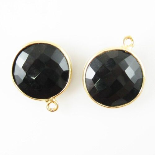 Gemstone Pendant Sold Per 2 Pcs 14mm Faceted Coin Shape Black Onyx