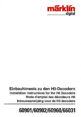 Märklin Istruzioni Di Installazione Per Decoder Digitale 60901, 60902, 60960. Nuovo-mostra Il Titolo Originale