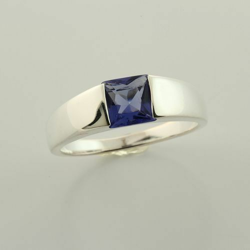 CLEARANCE Sterling Simulated Tanzanite 6mm Princess Cut Ring