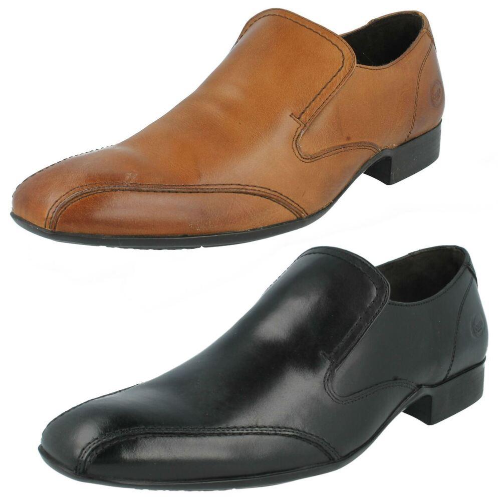 Vente Hommes Base London Leather Chaussure à Enfiler Creux Mto Noir Ou Fauve