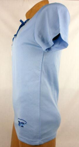 Body Tech Blue Jersey Short Sleeve Lace-up V-Neck Boxing Tee Medium #114A AK165