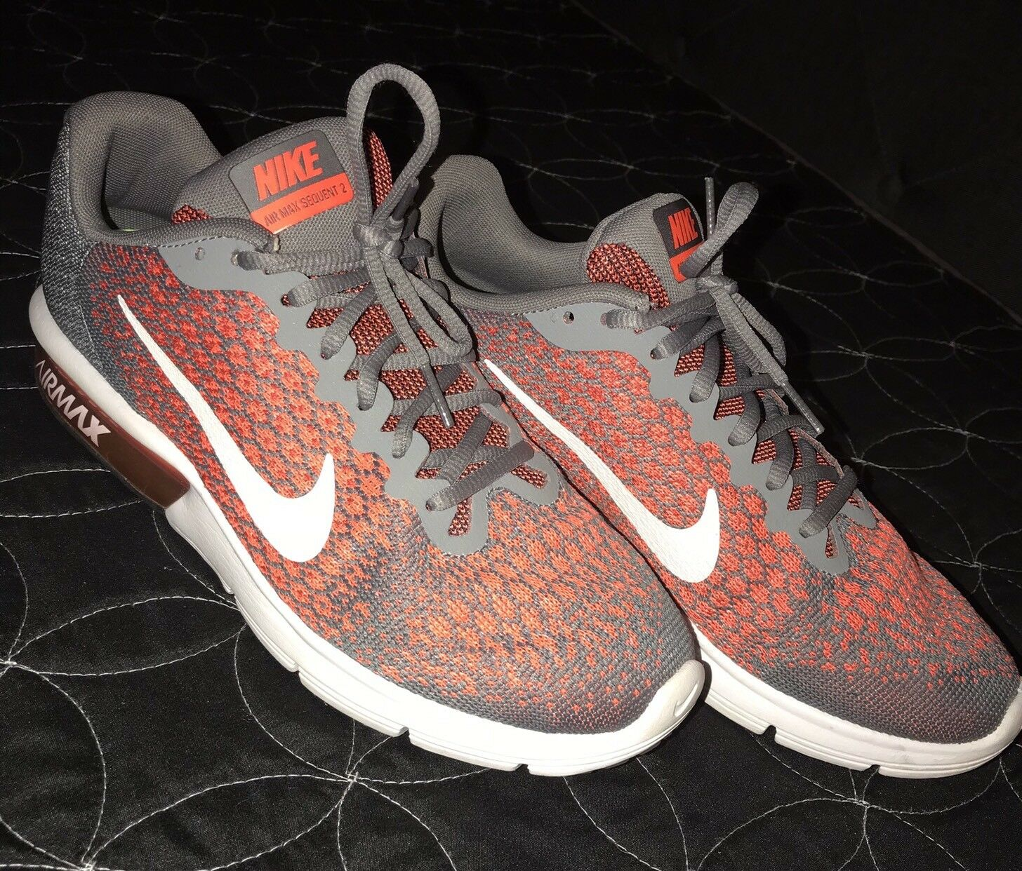 Mens Nike Air Max Sequent 2 Size 8 852461-008 Cool Grey orange