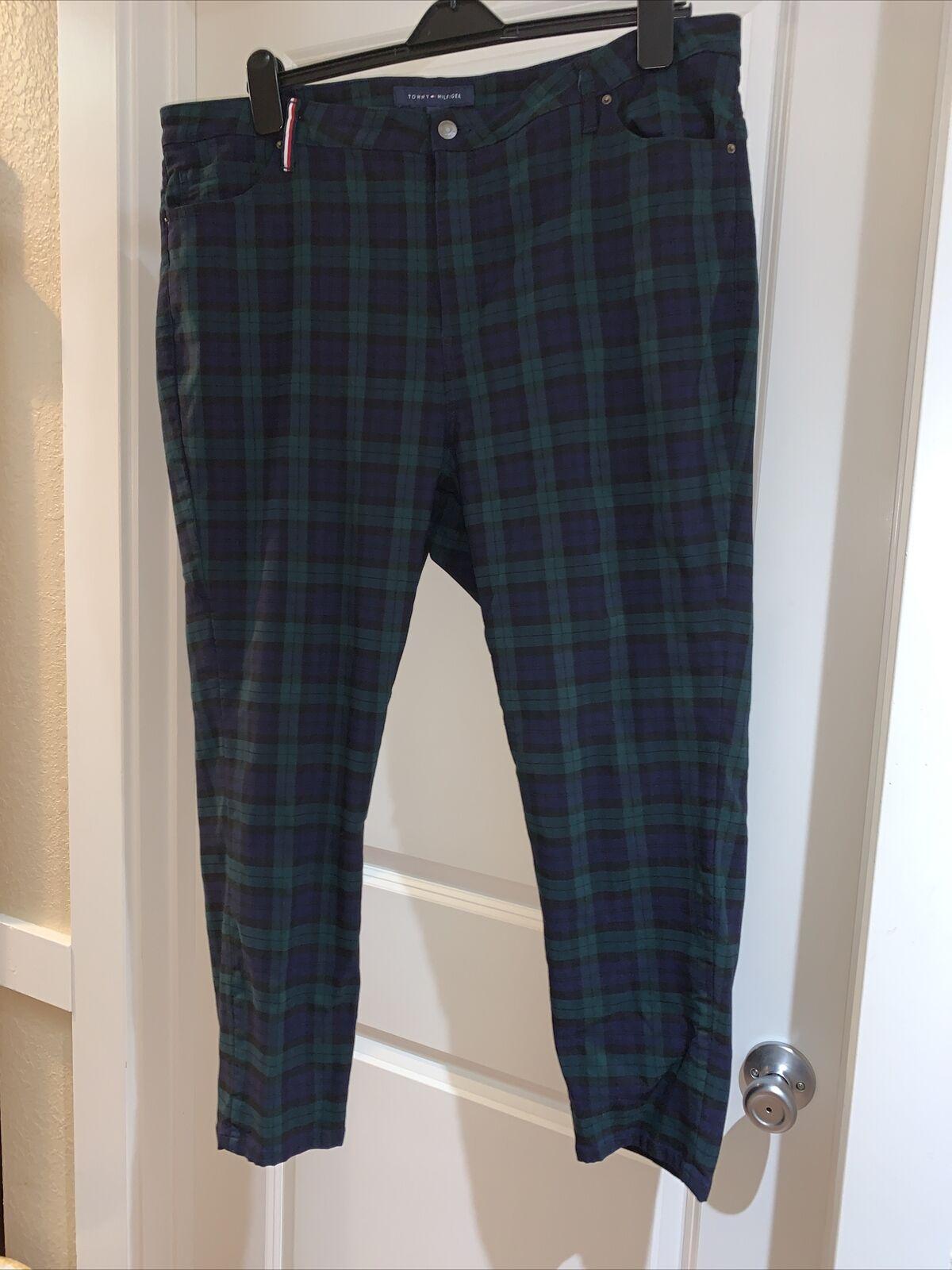 TOMMY HILFIGER Blue green plaid Pants zip front … - image 1