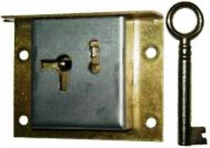 M-1848 HALF MORTISE STEEL DRAWER OR RIGHT HAND DOOR LOCK W/ BRASS MOUNTING PLATE