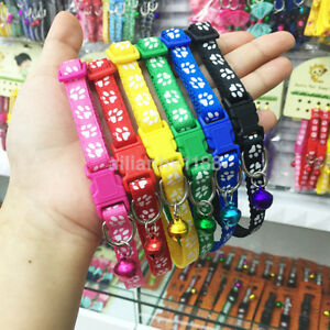 Hot-Adjustable-Small-Size-Pet-Cat-Puppy-Dog-Collar-Band-With-Ring-Bell-Buckle-AU
