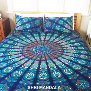 Feather Mandala Cotton Bedspread Queen Flat Bed Sheet Flat Sheet Wall Hanging
