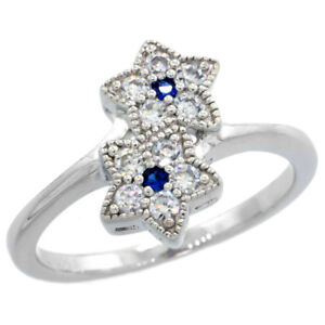 Sterling-Silver-Vintage-Style-Double-Star-Ring-w-Brilliant-Cut-CZ-Stones