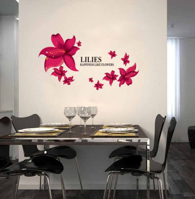 Lilies Happiness Like Flowers Mural Wall Art Decor Decal Removable Sticker cl
