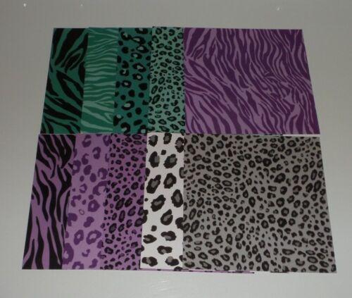 Purple Turquoise White Safari 10 pieces 6X6 Cardstock Giraffe Zebra Leopard