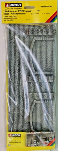 """NOCH 58058 Arkadenmauer H0 33,4x12,5cm /""""Steinmauer PROFI-plus/"""" NEU OVP"""