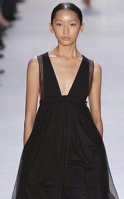 PACO RABANNE Black Silk Cashmere Lace Low Cut Dress 38 4 6