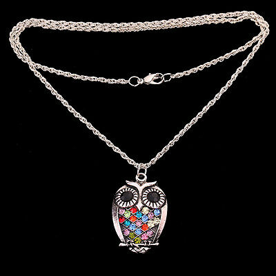 Colorful Crystal Owl Pendant Tibetan Silver Chain Necklace women lady Jewelry