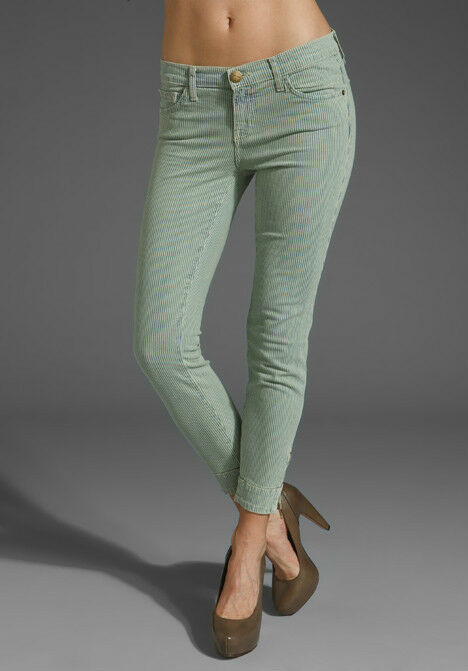 NWT Current Elliott Quartermaster Stripe Cropped Jeans Seaglass  23 Women