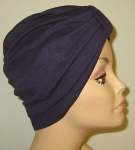 Chemo Navy Blue Turban Cancer Hat USA Cotton Stretch Knit Hijab ... 0d2845da9b5