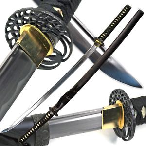 "40.5"" Handmade Full Tang Sharp SAMURAI KATANA Sword Classic Crane MUSASHI TSUBA"