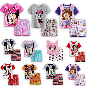 Maedchen-Jungen-Kinder-Mickey-Minnie-Nachtwaesche-Kurzarm-T-Shirt-Hosen-Pyjama-Set