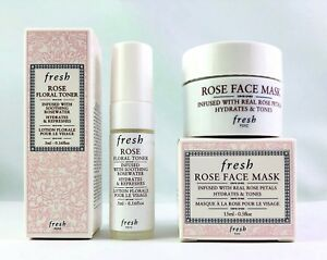 FRESH-Rose-Face-Mask-Mini-15ml-5oz-amp-Rose-Floral-Toner-Mist-5ml-16oz-New-Boxed
