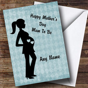 Blue mum to be pregnant lady personalised mothers day greetings image is loading blue mum to be pregnant lady personalised mother m4hsunfo