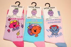 GIRLS LADIES LITTLE MISS SOCKS 3 DESIGNS 3 SIZES NEW