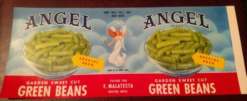 Boston Massachusetts Original ANGEL Green Bean TIN CAN LABEL 1950/'S F.Malatesta