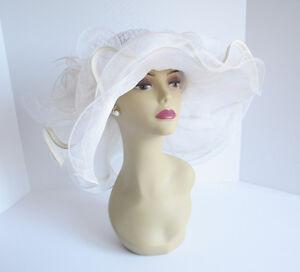 NEW Church Derby Wedding Sinamay & Organza Wide BrimDress Hat Off-White C-VF3034
