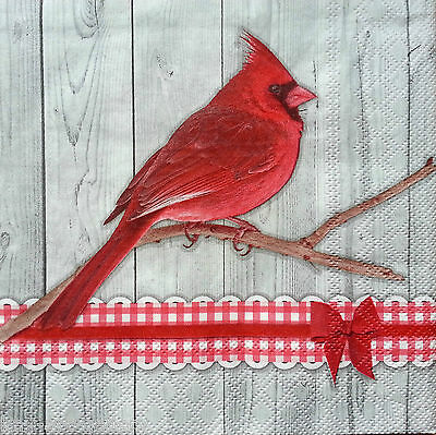 4 Vintage PAPER Table NAPKINS Party for Decoupage Craft RED BIRD Napkin H21 ART