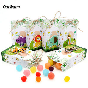 Details About 6pcs Animal Theme Paper Candy Box Kids Jungle Birthday Party Treat Gift Bags
