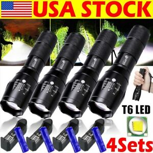 Tactical Police 990000Lumens 5Modes LED Flashlight Aluminum 18650 Torch Zoomable
