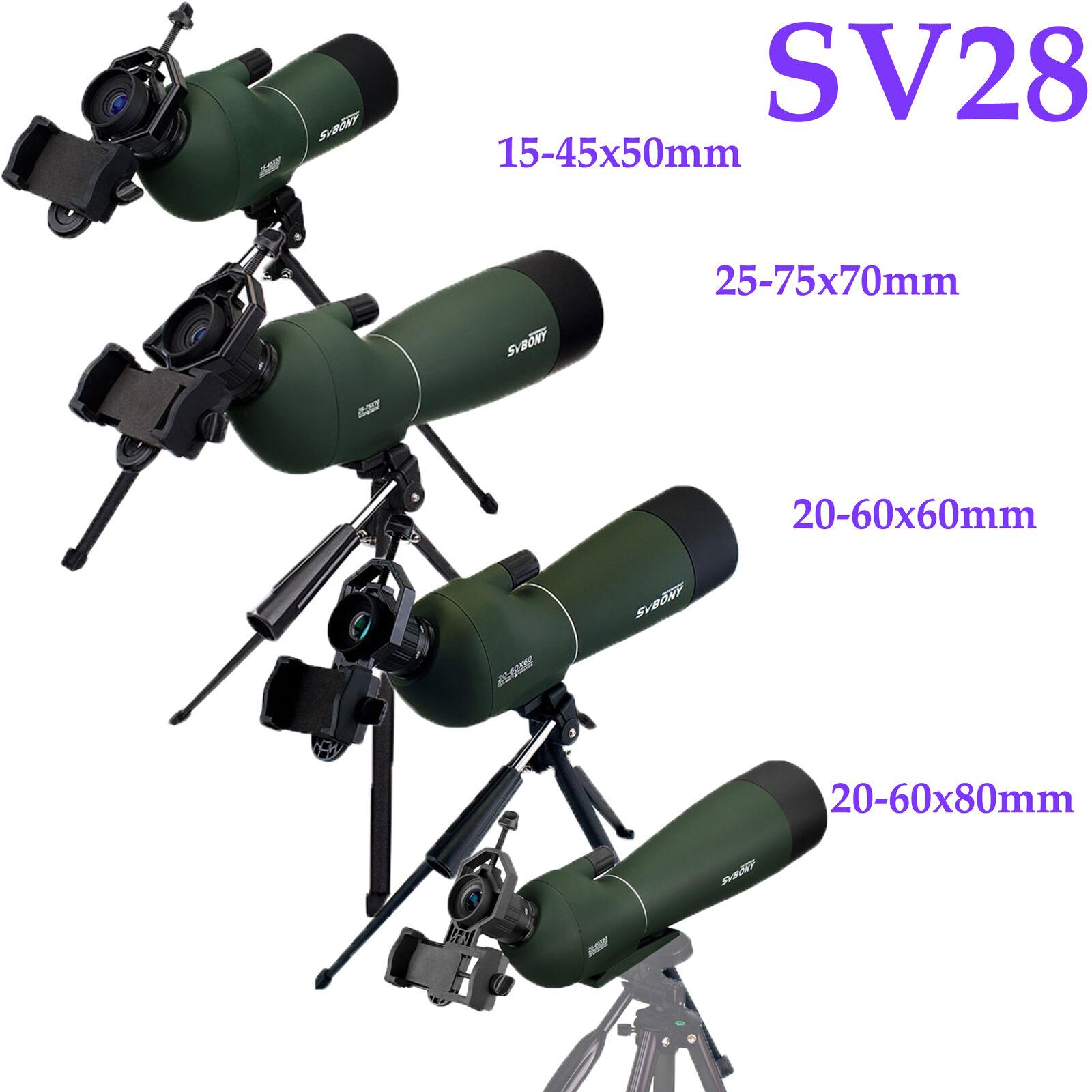 SVBONY 15-45x50 20-60X60 25-75x70 20-60x80mm Spotting scope+Tripod+Phone Adapter