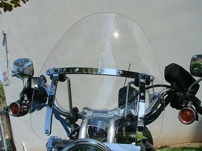 "LARGE 19""x17"" WINDSHIELD for Harley Davidson Sportster Dyna Glide Softail Clear"