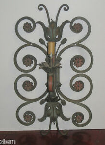 Wrought Iron Wall Sconces Flowers : Antique Wrought Iron Wall Sconce Hand Painted Flowers 1 Light