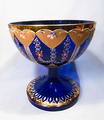 Vintage Czech Bohemia Moser Enameled Flowered Gilded Cobalt Blue Glass Compote