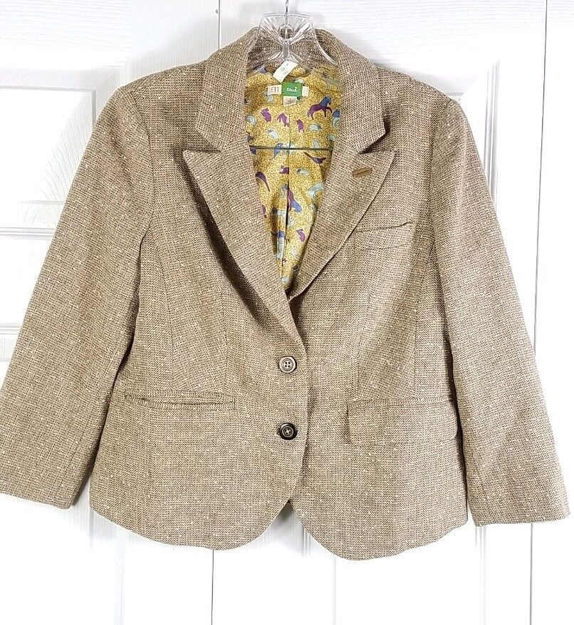 ANTHROPOLOGIE ETT TWA womens sz 4 wool tweed faux suede patch 3 4 sleeve blazer