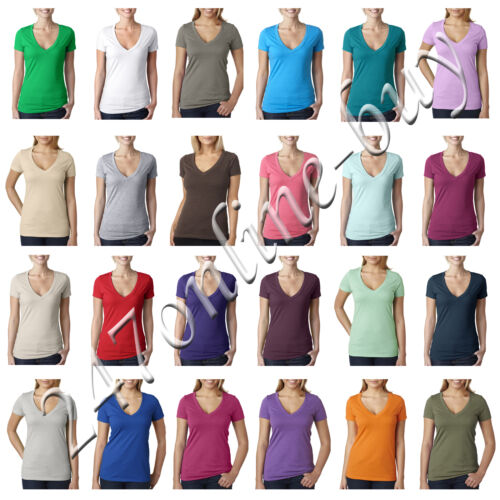 Next Level Womens Solid CVC Deep V Neck T Shirt Vneck Tee S M L XL 2XL 6640