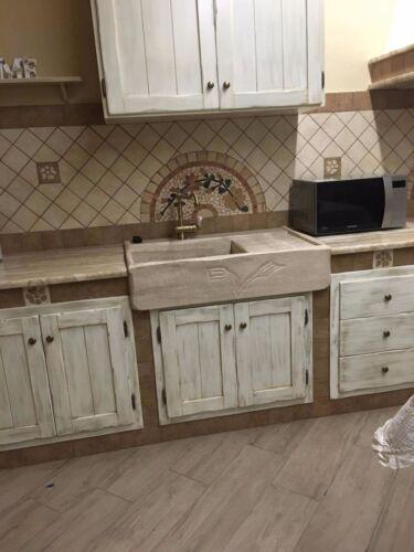 lavandino lavello lavabo cucina in pietra travertino 1 vasca con ...