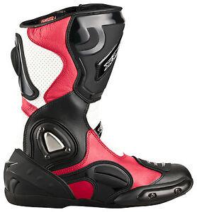Motorradstiefel-Racing-Boots-Touringstiefel-von-XLS-schwarz-rot-weiss-Gr-40-47