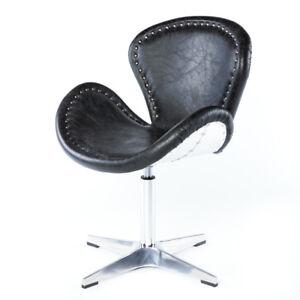 vintage ledersessel schwarz echtleder drehsessel egg chair. Black Bedroom Furniture Sets. Home Design Ideas