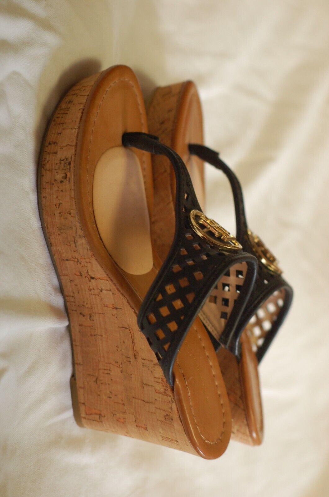 Tommy Hilfiger Black Leather Thong Sandals Cork W… - image 8