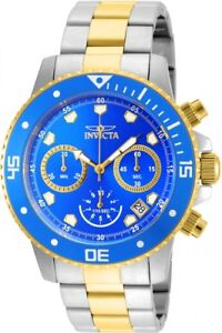 New-Mens-Invicta-21892-45mm-Pro-Diver-Chronograph-Steel-Bracelet-Watch