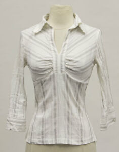 8cfc09529dece Details about MEXX Women s White Pin Striped 3 4 Sleeve V-Neck Blouse US Sz  2  40