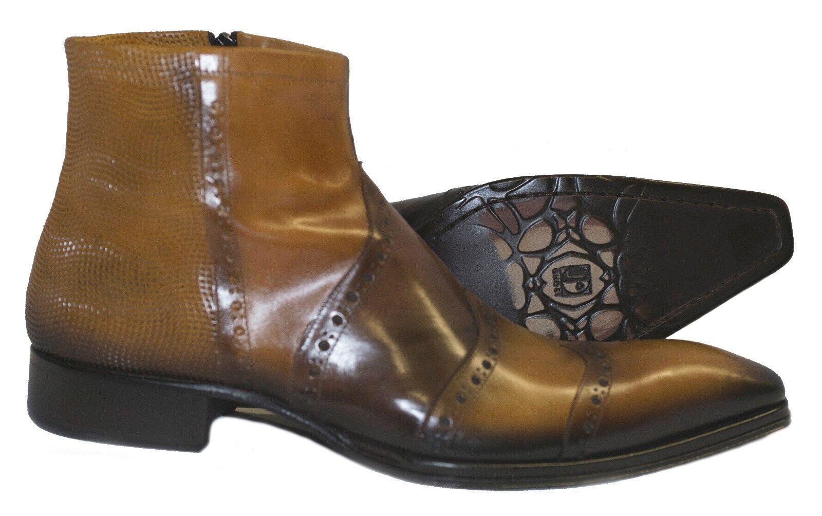 Jo Ghost 46217 Italian mens cognac ankle boots w/design