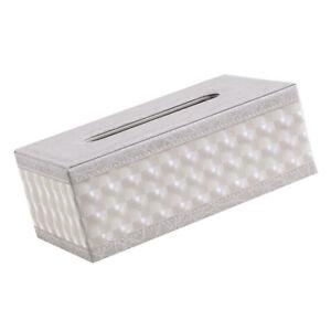 Serviettenhalter-Tissue-Box-Auto-Papier-Vorratsbehaelter-Weiss-Grid