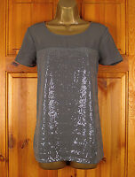 NEW EX NEXT LADIES GREY SEQUIN SPARKLY SUMMER BLOUSE TUNIC TOP UK SIZE 6 - 10