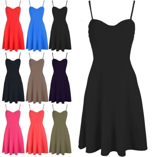 Ladies Strappy Cami Padded Sleeveless Top Womens Flare Swing Skater Mini Dress