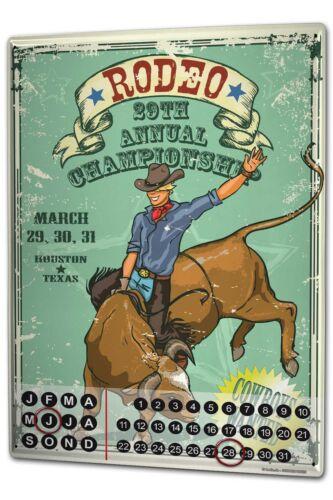 Dauer Wand Kalender USA Ureinwohner  Rodeo Meisterschaft Metall Magnet