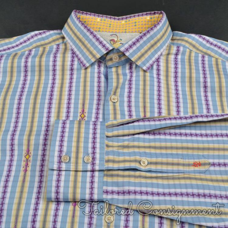 ROBERT GRAHAM colorful Striped 100% Cotton Mens Casual Dress Shirt - XL